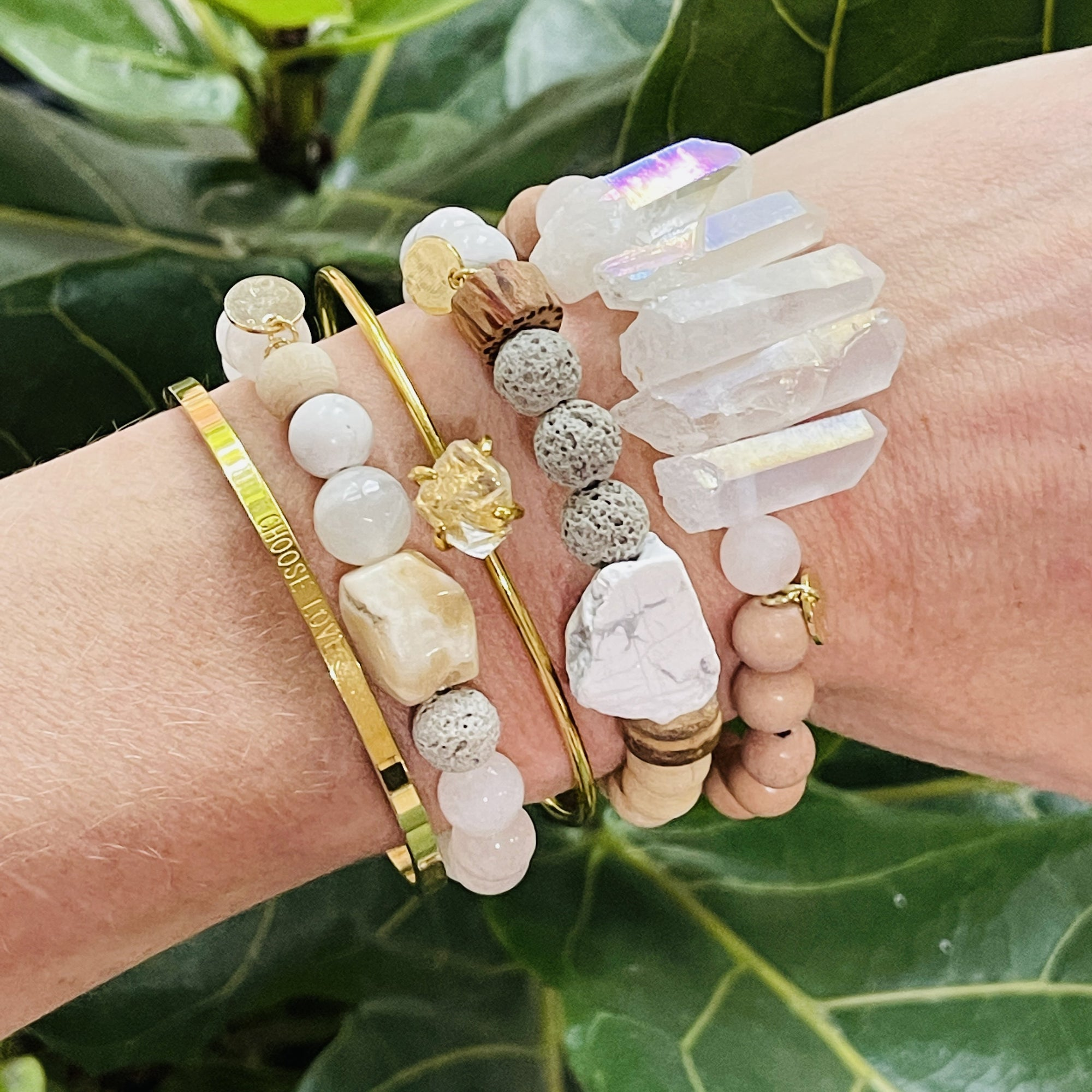 High vibe stacking bracelets from sarah belle