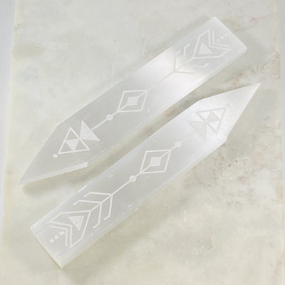 Selenite arrow cleansing plate by Sarah Belle