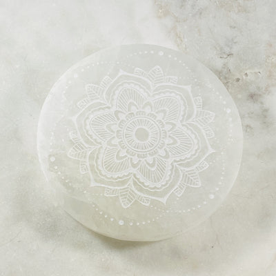 Selenite mandala charging disc for cleansing crystals