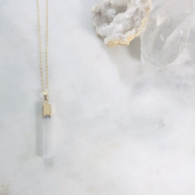 Handmade selenite necklace with healing vibes for modern minimalist style