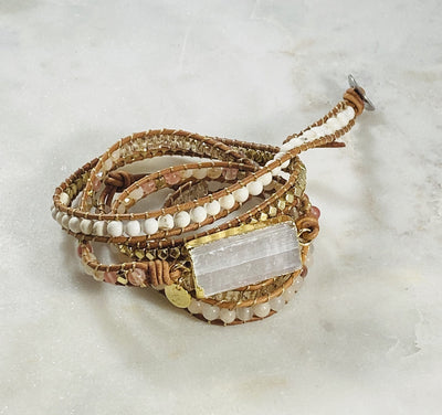 Selenite leather wrap bracelet for healing energy and protection