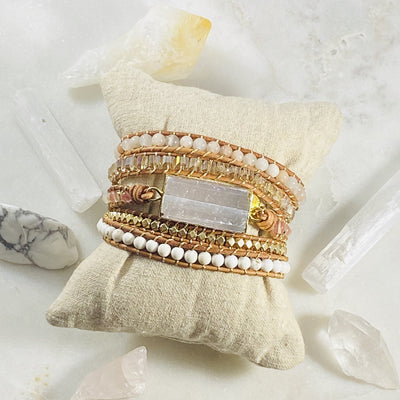 Crystal healing bracelet with selenite for energy protection
