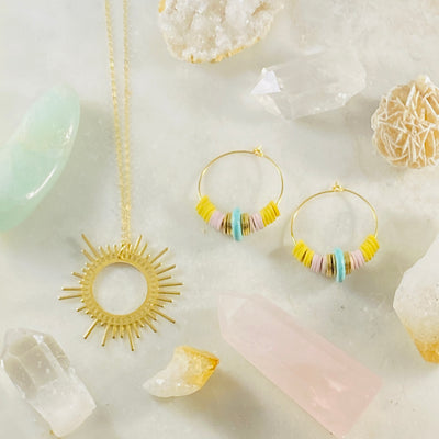 Amelia earrings paired with Shine necklace from Sarah Belle
