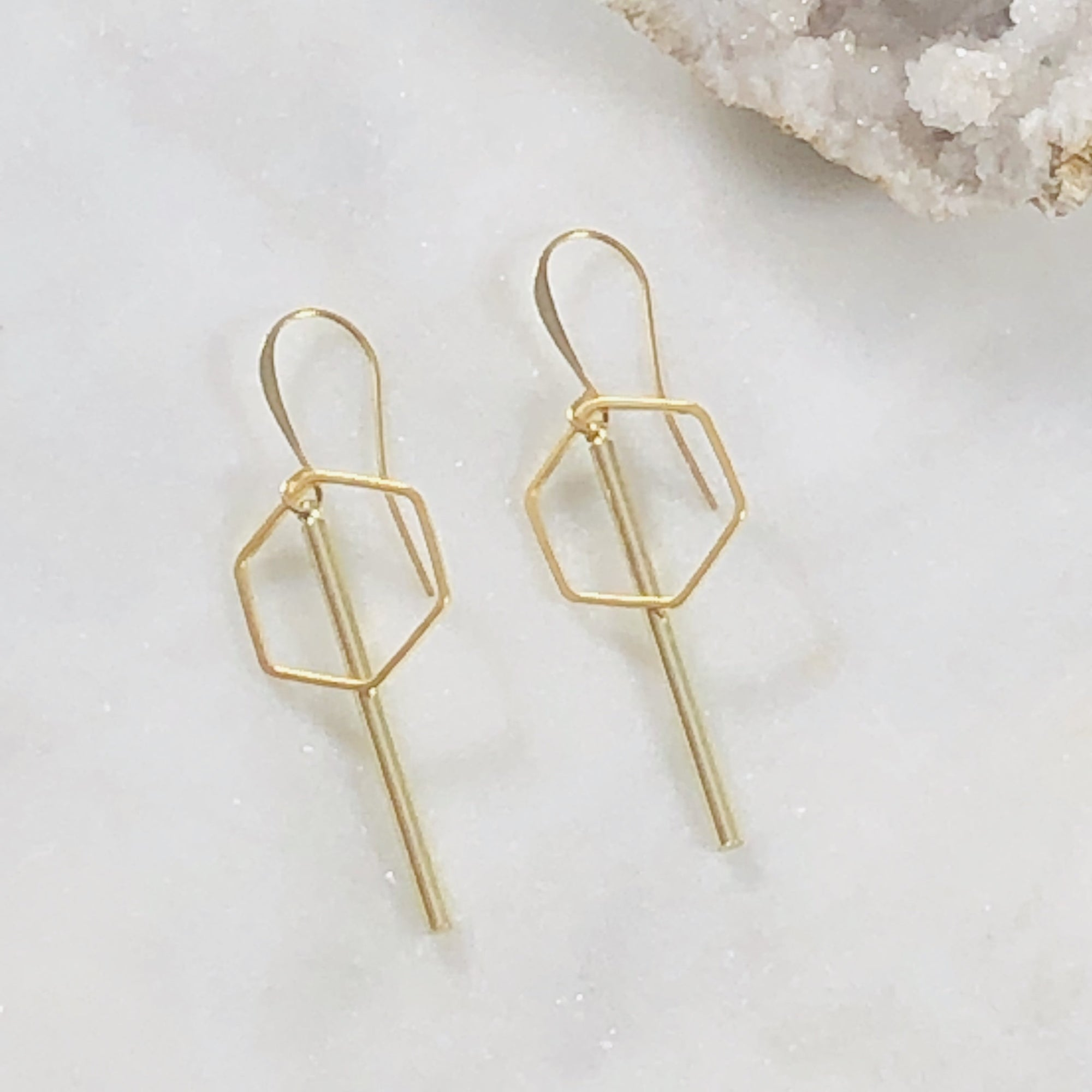 Simple handmade gold plated earrings for modern minimalist style