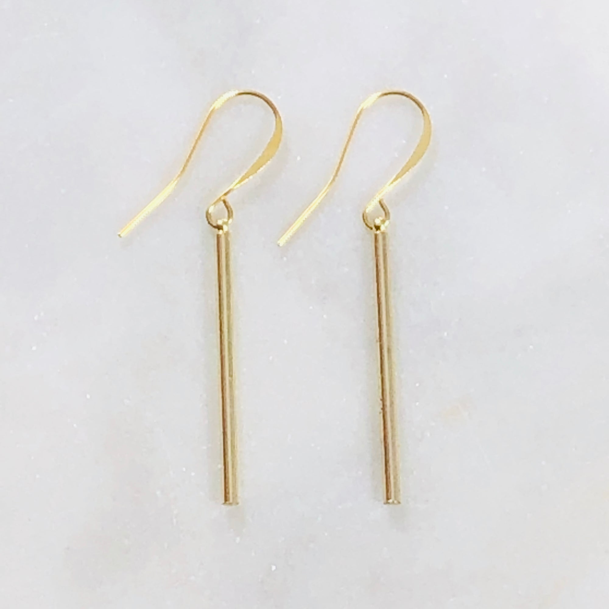 Handmade gold bar earring for a modern minimalist style