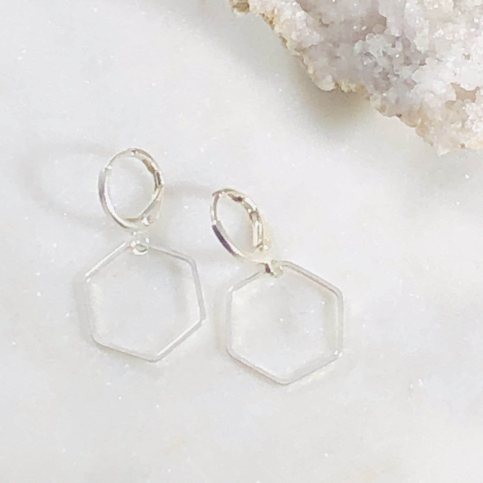 Handmade silver plated hexagon earrings with deeper meaning of sacred symbols