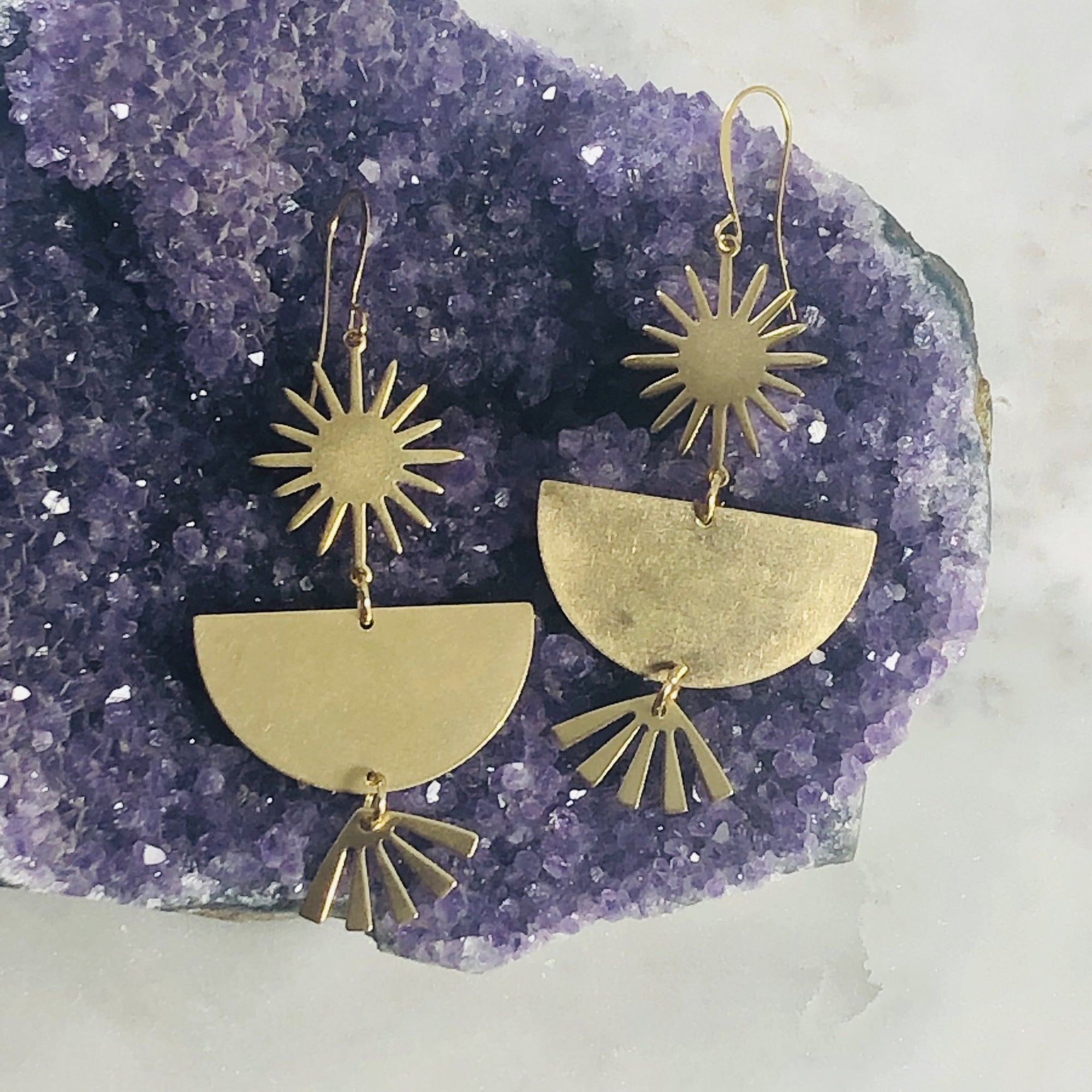 Handmade Soleil statement earrings with earthy brass patina