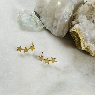 Star Ear Climber Studs Gold