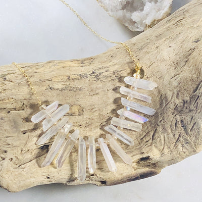 Handcrafted quartz crystal statement necklace that's high vibe and high style