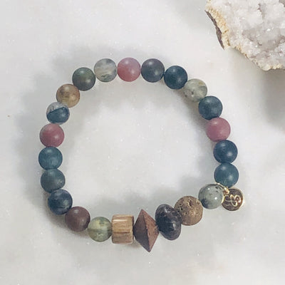 Handmade healing crystal bracelet for strength, grounding and balance