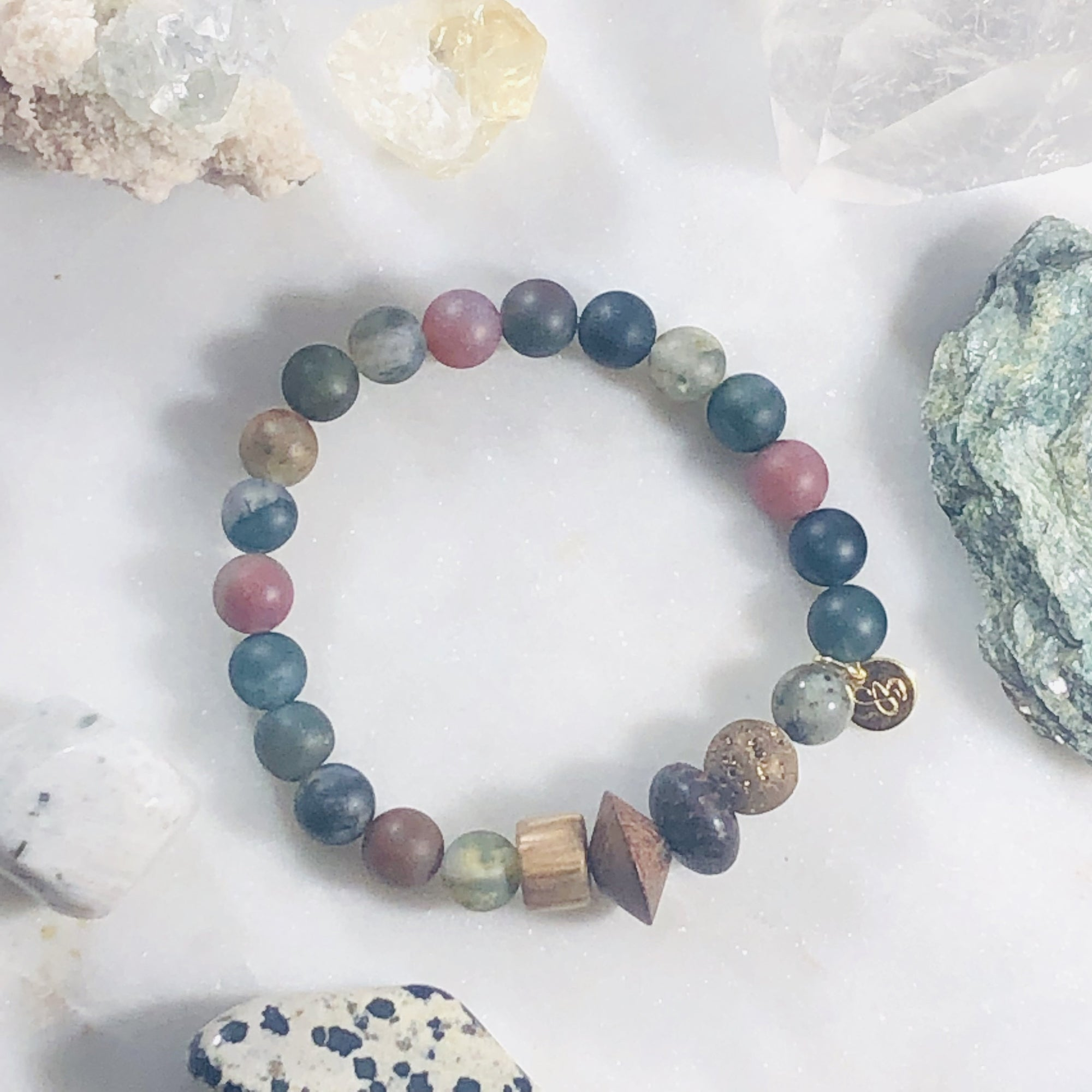 Handmade crystal healing bracelet for strength, grounding and balance