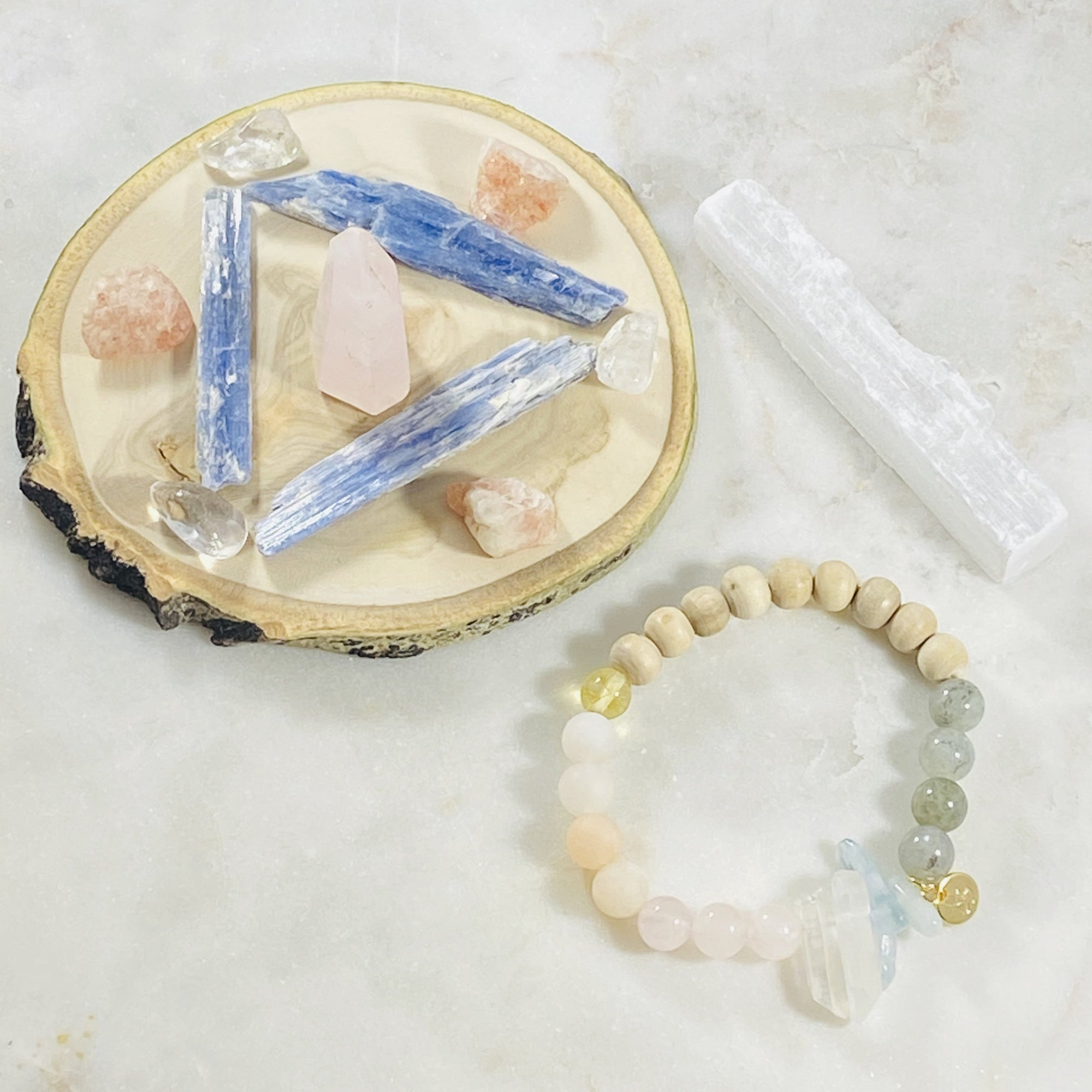 Healing crystal grid and handmade bracelet for healing the heart