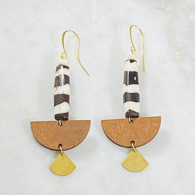 Handmade Sarah Belle Tilly Earrings with cow beads