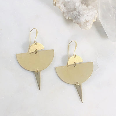 Handmade geometric brass earrings for modern minimalist style