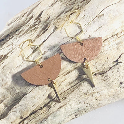 Handmade geometric brass and wood earrings for modern minimalist style