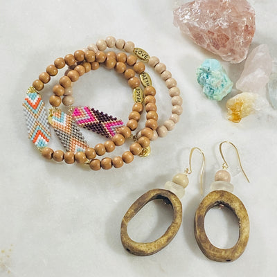 Handmade boho earrings and tribe bracelets from Sarah Belle