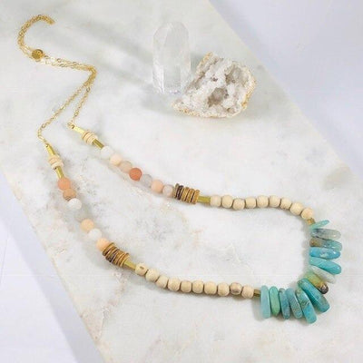 Velma Amazonite Aventurine Necklace for a Modern, Boho Vibe