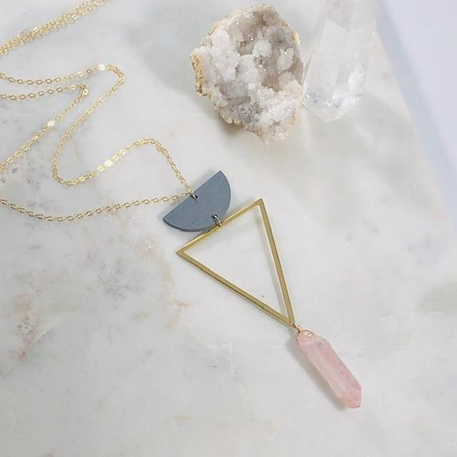 Venus Triangle Quartz Necklace Handmade for Goddess Energy