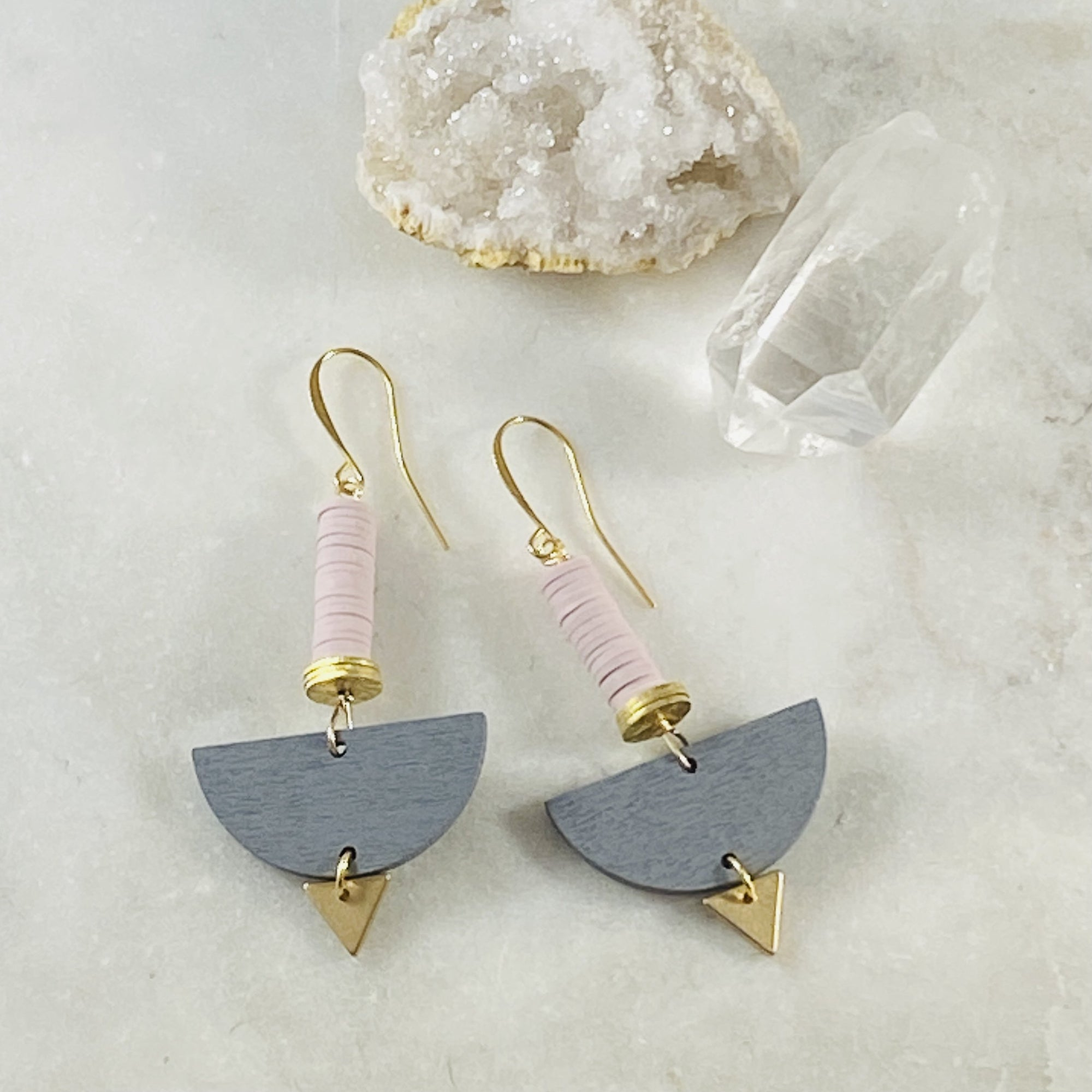 Victoria earrings in lavender, handmade by Sarah Belle