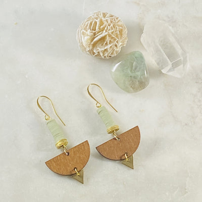 Victoria earrings in sage, handmade by Sarah Belle
