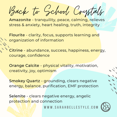 Back to school crystals for energetic support