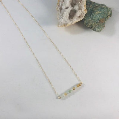 Dottie Amazonite Bar Necklace with Healing Crystal Energy for Stress