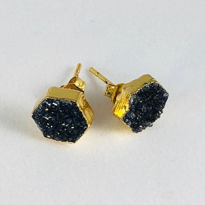 Druzy Agate Hex Earrings Black Handmade Crystal Jewelry for Modern Style