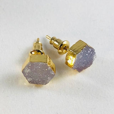 Druzy Agate Hex Earrings Light Blue Grey Handmade Crystal Jewelry for Modern Style