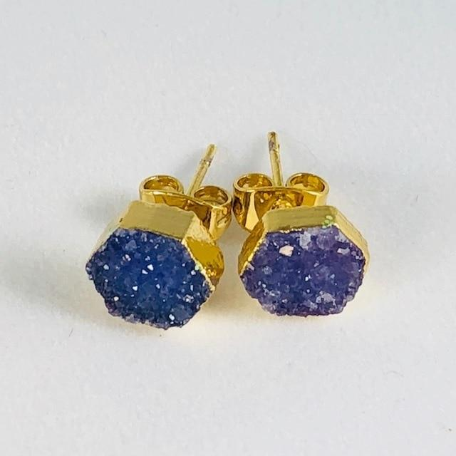 Druzy Agate Hex Earrings Indigo