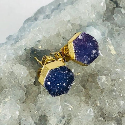 Druzy Agate Hex Earrings Indigo Handmade Crystal Jewelry for Modern Style