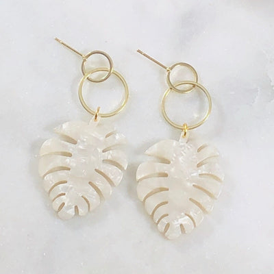 Circle Post Monstera White Handmade Nature-Inspired Jewelry