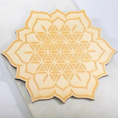 Flower of Life Wood Grid Handmade for Yoga and Meditation