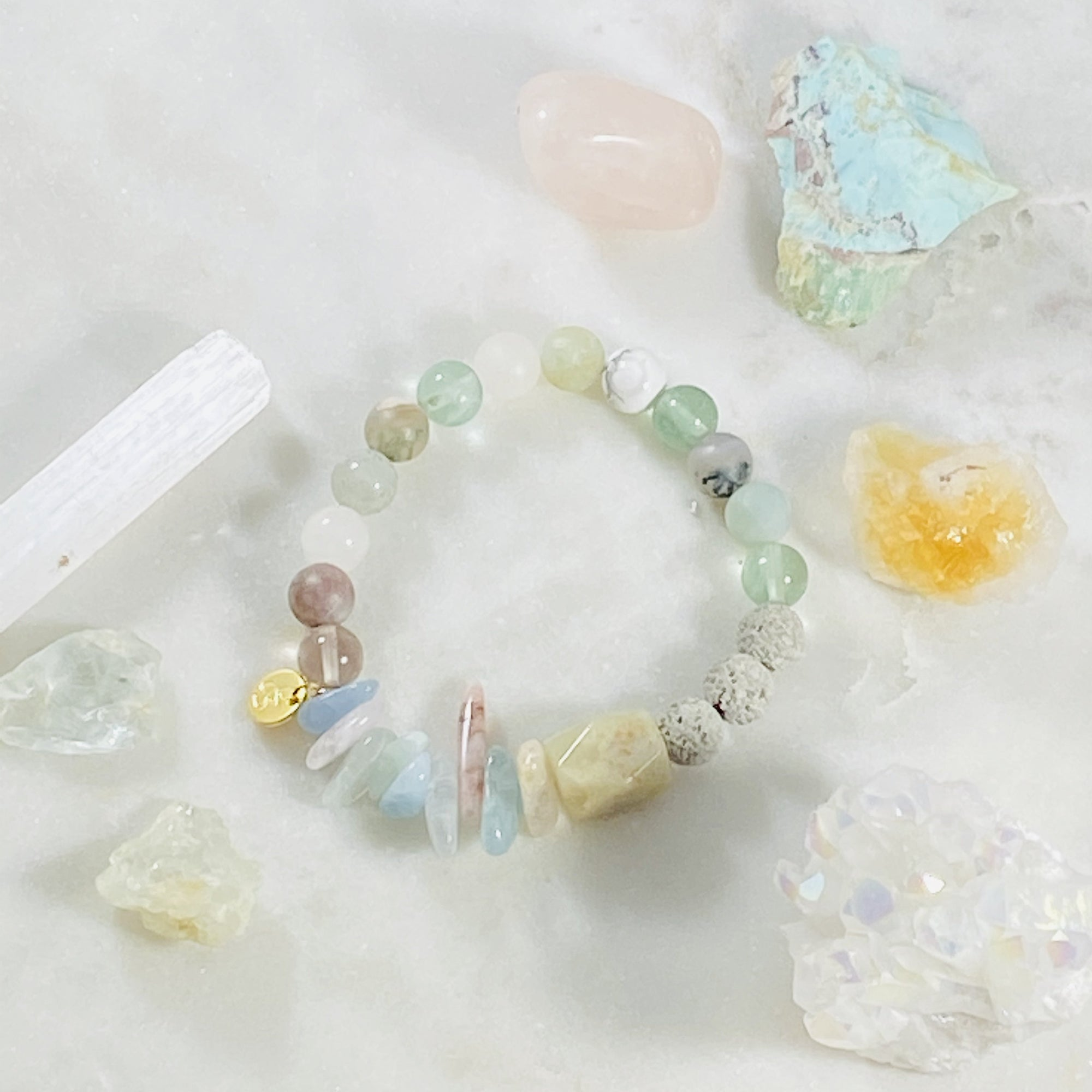 Handcrafted, intuitively designed, custom healing crystal bracelet
