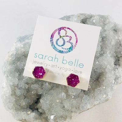 Druzy Agate Hex Earrings Pink Handmade Crystal Jewelry for Modern Style