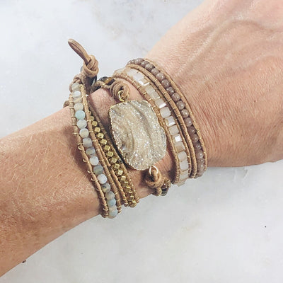 Druzy Wrap Bracelet Warm Intuitively Created with Semi-Precious Gemstones