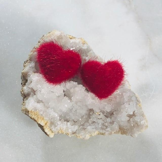 Fuzzy Heart Stud Earrings Red