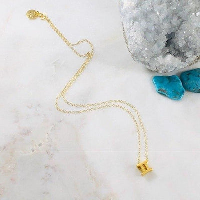 Gemini Charm Necklace with Healing Crystal Perfect Gift