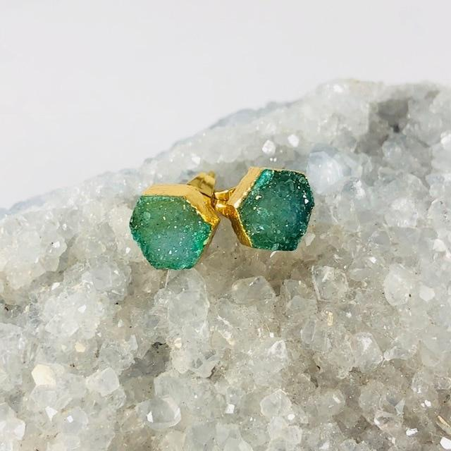Druzy Agate Hex Earrings Green