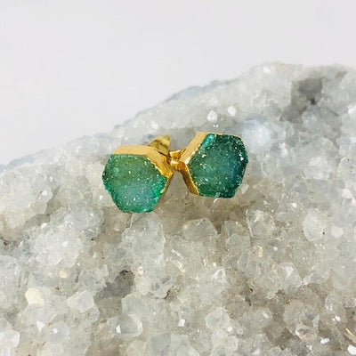 Druzy Agate Hex Earrings Green Handmade Crystal Jewelry for Modern Style