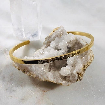 Mantra cuff bracelet for inspiring authentic living