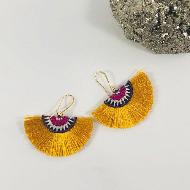 Fan Tassel Earrings Mustard Handmade Statement Jewelry