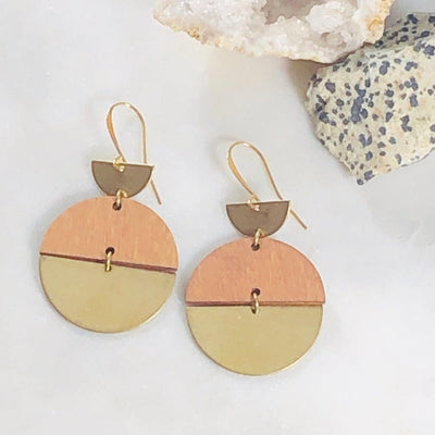 Neptune Brass Wood Disc Earrings