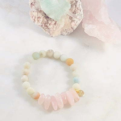 Peace and Love Stacking Bracelet Intuitively Created with Crystal Energy for Love and Harmony