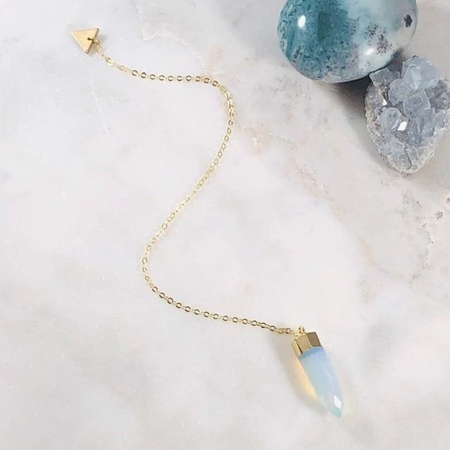 Delicate Pendulum with Semi-Precious Opalite for Healing Crystal Energy and Balance