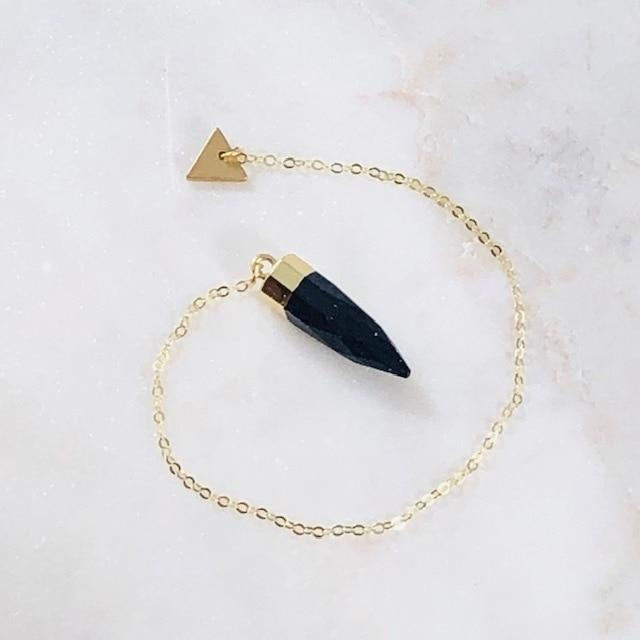 Delicate Pendulum with Semi-Precious Blue Goldstone for Healing Crystal Energy and Balance