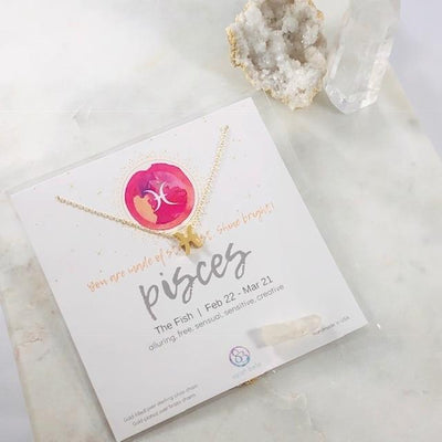 Pisces Charm Necklace with Healing Crystal Perfect Gift