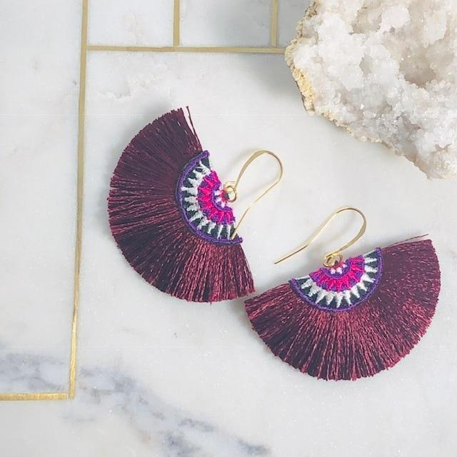 Fan Tassel Earrings Maroon Handmade Statement Jewelry