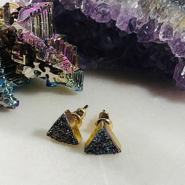 Rainbow Aura Druzy Triangle Studs Handmade for a Modern, Boho Look