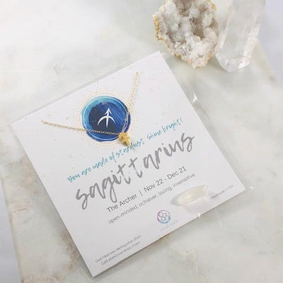 Sagittarius Charm Necklace with Healing Crystal Perfect Gift