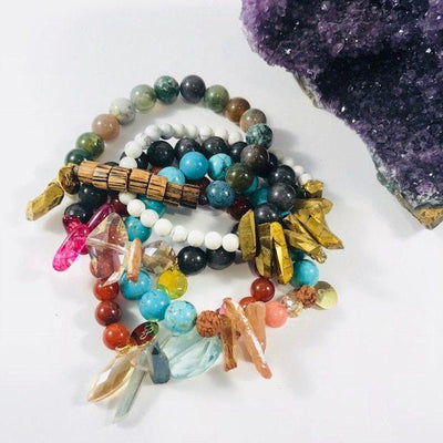 Brighten Turquoise Howlite and Crystal Bracelet Boho Style